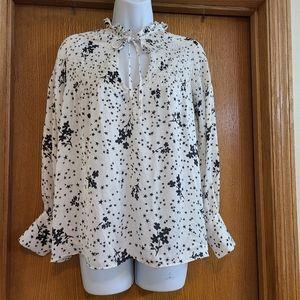 Zara Basic Star Floral Blouse Shirt S